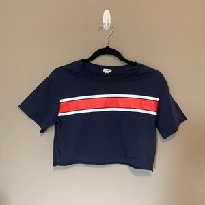Garage Cropped Tshirt. Navy blue. Size small.